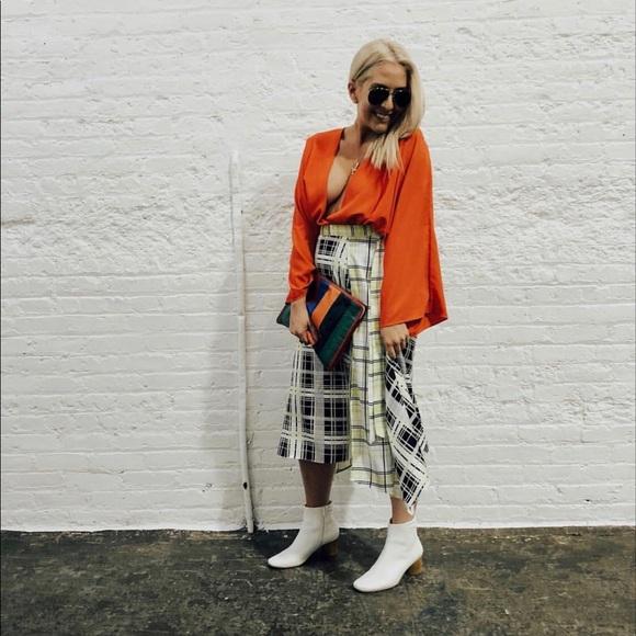 [TOPSHOP] Obsession Mixed Check Print Midi Skirt